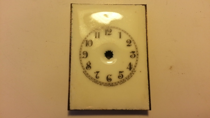Antique Waterbury Carriage Clock Miniature Porcelain Dial Close up