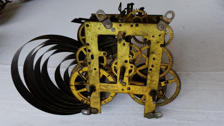 Spring driven antique clock movement