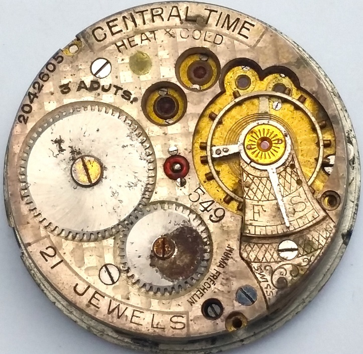 Central Time Swiss Fake 21 Jewels Pocket Watch Movement