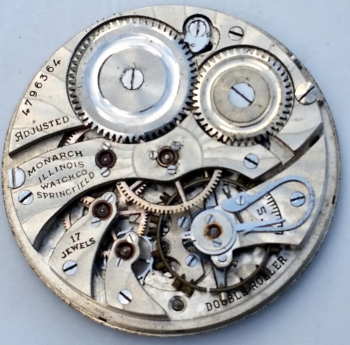 Illinois Monarch 17 Jewel Pocket Watch Movement Adjusted Double Roller