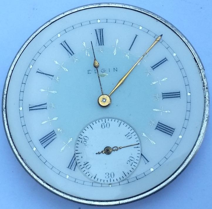 Elgin 15 Jewel Pocket Watch with Fancy Porcelain Dial