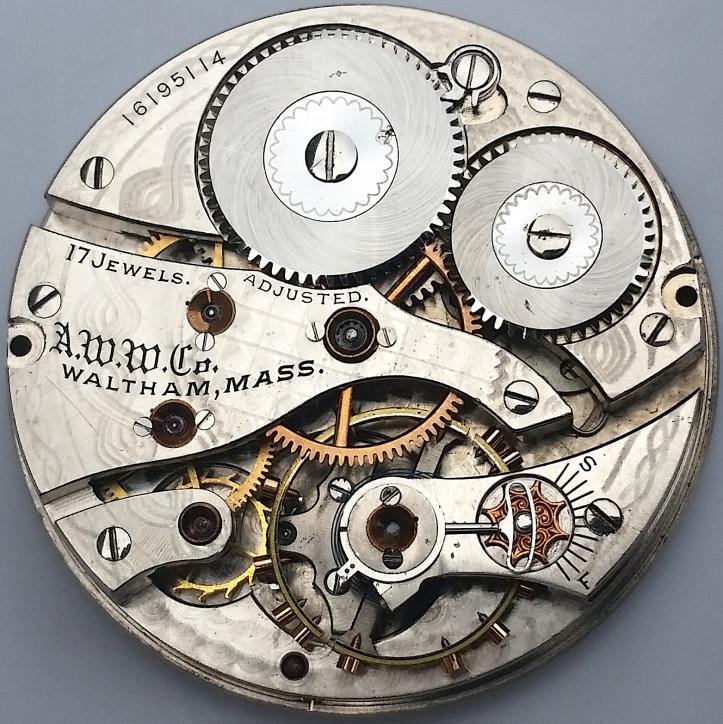 Waltham Pocket Watch Movement 17 Jewel Adjusted