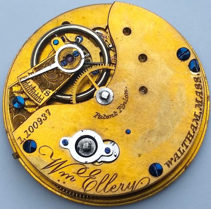 WM Ellery Waltham Antique Pocket Watch Key Wind Movement
