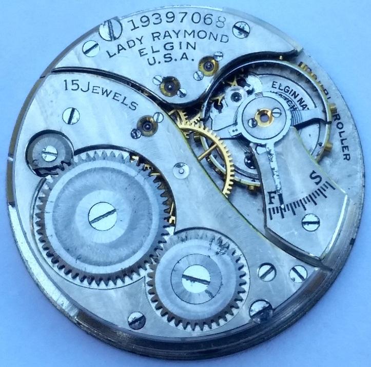Lady Raymond Elgin 15 Jewel Pocket Watch Movement