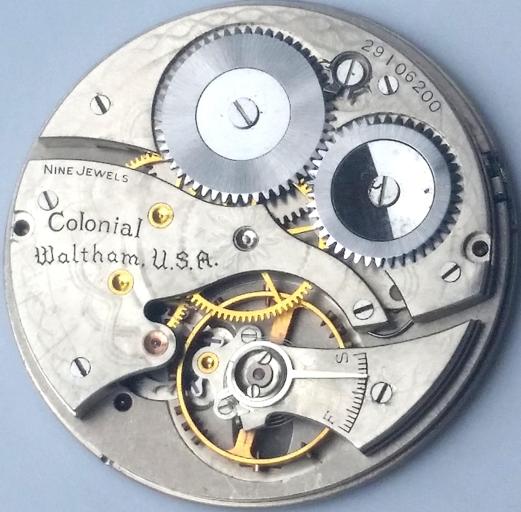 Waltham Colonial Pocket Watch 9 Jewel Movement Ca 1935