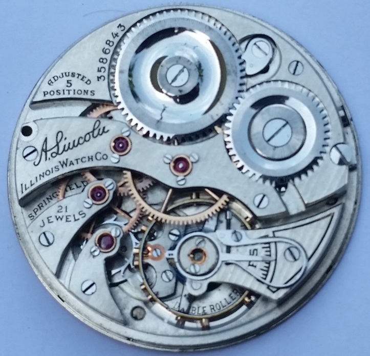 Illinois Abraham Lincoln 21 Jewel Pocket Watch